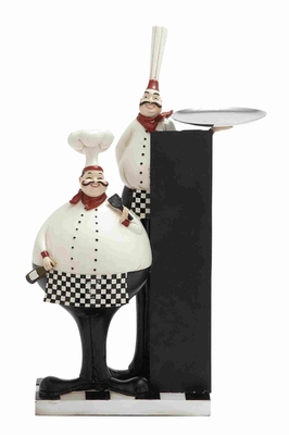 """Cute and Adorable 18"""" Polystone Chef in White and Black Brand Woodland"""