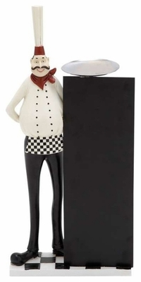 "Cute and Adorable 21"".5 Polystone Chef in White and Black Brand Woodland"