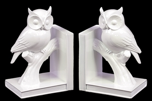 Cute and Pristine White Owl on Stand Ceramic Bookend