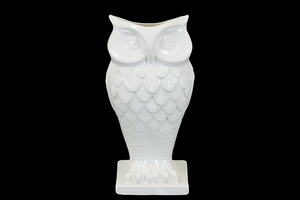 Cute Bud Style Owl Shaped White Ceramic Vase