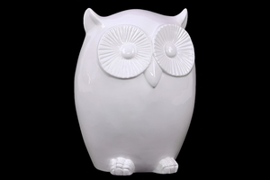 Cute & Charming Ceramic Owl Figurine w/ Smooth Surface & Big Round Eyes in White Large