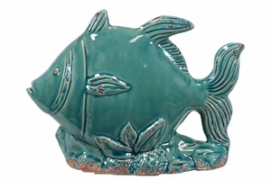 Cute looking Blue Ceramic Fish by Urban Trends Collection