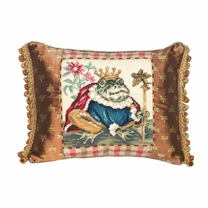 Cute Prince Frog Needlepoint Pillow by 123 Creations