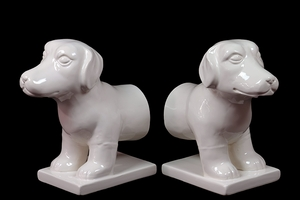 Cute Set of Two White Ceramic Dog Bookend