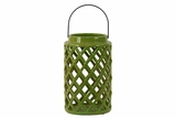 Cylindrical Shaped Ceramic Lantern Crafted w/ Open Crisscross Design in Green