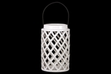 Cylindrical Shaped Ceramic Lantern Crafted w/ Open Crisscross Design in White