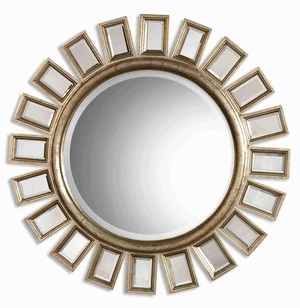 Cyrus Wall Mirror with Wood Frame Surrounded by Beveled Mirrors Brand Uttermost