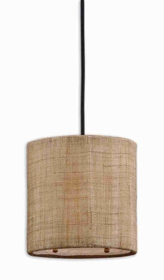 Dafina 1 Light Mini Drum Pendant Lamp With Antiqued Burlap Brand Uttermost
