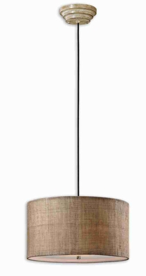 Dafina 3 Light Drum Pendant Lamp With Antiqued Burlap Brand Uttermost