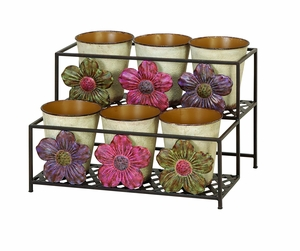 Daisy 2 Tier Metal Planter Stand with 6 Planters and Detailing Brand Woodland