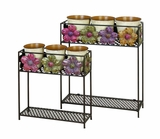 Daisy 2 Tier Metal Planter Stand with Detailed 6 Planters Brand Woodland