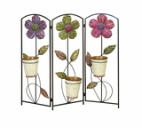 Daisy Flower Metal Planter Screen Stand with 3 Planters Brand Woodland