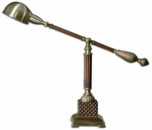 Dalton Wood Desk Lamp with Bronze Metal Detailing Brand Uttermost