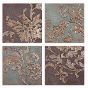 Damask Relief Hand painted Blocks Wall Art - Set of 4 Brand Uttermost