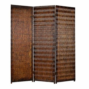 Danyl 3 Panel Screen Crafted with Unique Brown Metallic Finish Brand Screen Gem