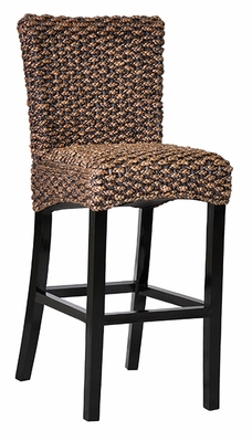 Dark Brown Rattan Seated Kirana Barstool