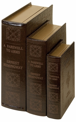 Dark Brown Wooden Leather Book Box with Vintage Look - Set of 3 Brand Woodland
