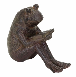 Darling Reading Garden Frogs Statue in Polystone Cast Brand Woodland