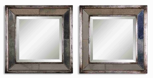 Davion Square Mirror Set with Burnished Antique Silver Finish Brand Uttermost