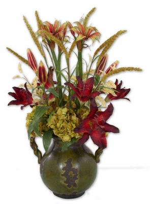 Daylilies In Tuscan Urn with Faded Evergreen Finish Brand Uttermost