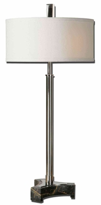 Dazio Chrome Buffet Lamp with Black Marble Foot Brand Uttermost