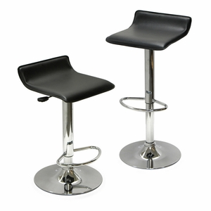 Winsome Wood Dazzling Airlift Black Faux Leather Set Of 2 Stools with Metallic Frame