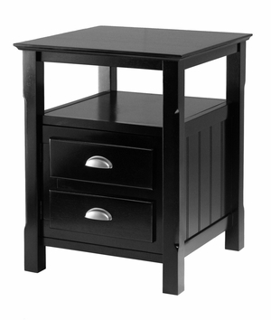 Dazzling Black Timber Modern Night Stand by Winsome Woods