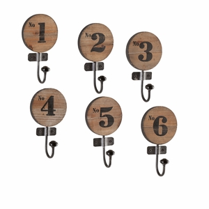 Decorative 6 Pieces Numbered Hook Set by Southern Enterprises