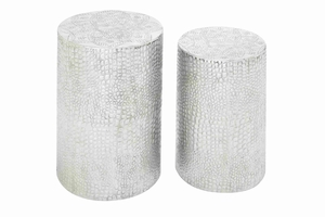 Decorative Aluminum Stool in Modern Style Decor Set of 2 Brand Woodland