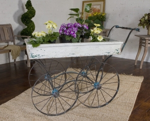 Decorative Cart - Adorable Flower Cart Buggy With Weathered Wood Brand Uttermost