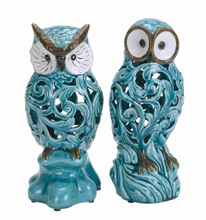 "Decorative Ceramic 11"" Owl with New Design Pattern Set of 2 Brand Woodland"