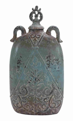 Decorative Ceramic Flat Jar with Lid for Indoor and Outdoor Use Brand Woodland