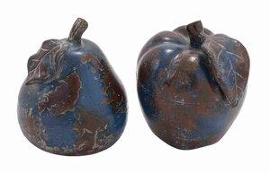 Decorative Ceramic Stoneware Apple and Pear Decor Set of 2 Brand Woodland
