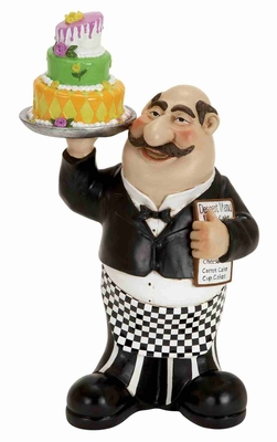 Decorative Fat Chef Holding Cake and Menu Crafted in Resin Brand Woodland