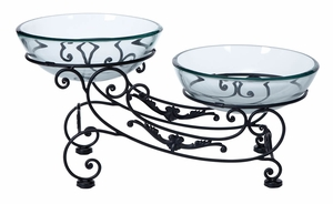 GLASS METAL DOUBLE BOWL 23 INCHES WIDE - 68524 by Benzara