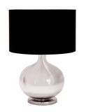 Decorative Glass Metal Table Lamp With Silver Color Pot Belly Base Brand Woodland