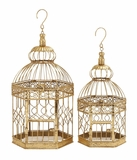 """Decorative Metal Bird Cage Golden Colored Set of 2 S/2 20"""", 16""""H by Woodland Import"""