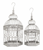 """Decorative Metal Bird Cage Silver Set of 2 S/2 20"""", 16""""H by Woodland Import"""