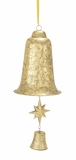 """Decorative Metal Christmas Bell w/ Small Star & Small Bell Clapper 10""""W, 24""""H by Woodland Import"""