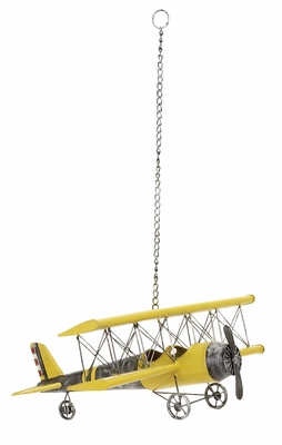 Decorative Metal Plane, Antique Plane Roof Hanging, 23 Inch Long, Yellow Brand Woodland