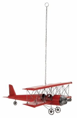 Decorative Metal Plane, Antique Plane Roof Hanging, 31 Inch Width, Red Brand Woodland
