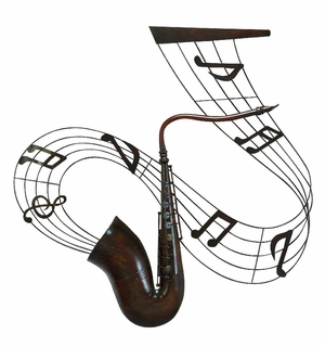 Decorative Musical Saxophone Metal Wall Decor Sculpture Brand Woodland