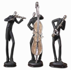 Decorative Musicians Statue Sculpture Set In Slate Gray and Silver Brand Uttermost