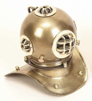 Decorative Nautical Diving Helmet in Antique Brass Finish Brand Woodland
