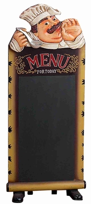Decorative Poly Resin French Chef with Chalk Board Menu Brand Woodland