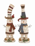 "Decorative Polystone Snowman Set of 2 in Red & Blue Assorted 4""W, 18""H by Woodland Import"