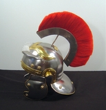 Decorative Roman Helmet Knights Gladiator Armor with Red Trim Brand Woodland
