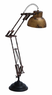 Benzara Decorative Rusted Antique Desk Lamp Decor Only Model With Spring Folding Arm