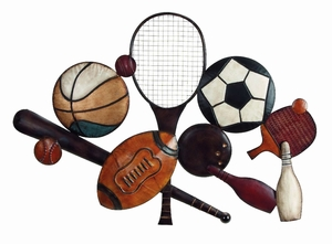 Benzara Decorative Sports Metal Wall Decor Sculpture in Multicolor