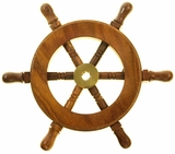 "Decorative Wooden Ship Wheel Ornament 6"" - Wood and Brass"